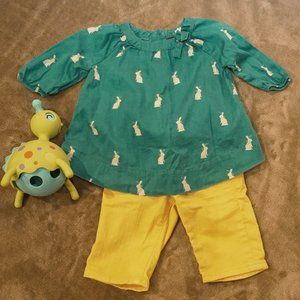BabyGap Green Bunny Tunic Yellow Jean's 0-3M